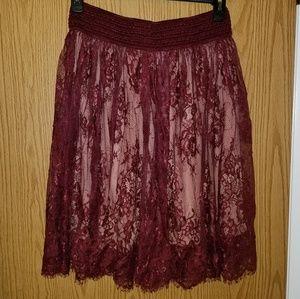 Burgundy lace overlay skirt